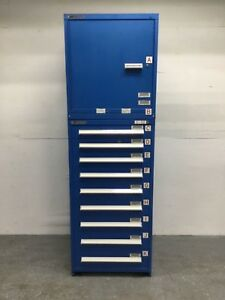 Stanley Vidmar 9 Drawer Industrial Parts Tool Storage Cabinet W Top Shelf