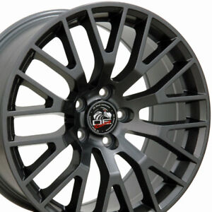 18x9 18x10 Gunmetal 2015 Mustang Gt Style Wheels 18 Set Of 4 Rims Fit Ford Cp