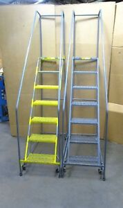 Ballymore 7 Step Stair Rolling Warehouse Ladder 300lbs Capacity Lot Of 2