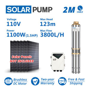 3 Dc Deep Bore Well Solar Water Pump 110v 1 5hp Submersible Mppt Controller Kit