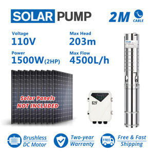 4 Dc Deep Bore Well Solar Water Pump 110v 2hp Submersible Mppt Controller Kit