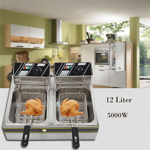 Electric Countertop Deep Fryer Dual Tank Commercial Restaurant 5000w 110v