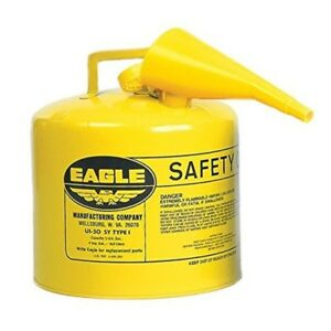 Gas Tank Funnel Metal Diesel Fuel Can 5 Gallon Safety Yellow Eagle Pour Spout