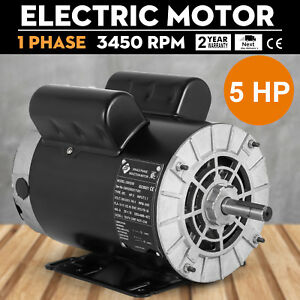 Electric Motor 5 Hp 3450 Rpm Air Compressor 1 Ph 5 8 shaft 60 Hz 2 Pole Cm05256
