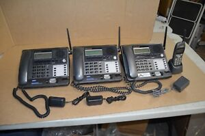 Lot Of 3 Panasonic 2 4ghz Kx tg4000b 4 Line Business Phones With Cordless Phone