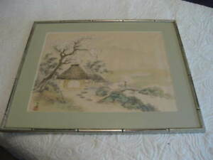Vintage Japanese Drawing Of Spring Countryside Signed Stamped