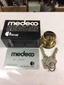 Medeco 10 100 Biaxial Mortise Cylinder In Brass Card With 2 Keys N3 Keyway