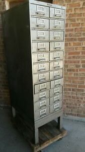 Vintage Art Metal 11 drawer 22 Bin Steel Cabinet apothecary industrial steampunk