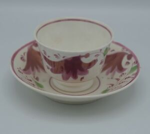 Antique Staffordshire Lusterware Spatterware Handleless Cup And Saucer Set