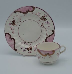 C 1890 Charles Allerton Stafforshire Lusterware Spatterware Cup And Plate Set