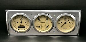 1941 1942 1943 1944 1945 1946 Chevy Truck 3 Gauge Dash Panel Quad Style Tan