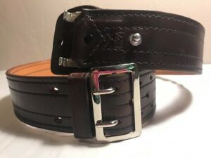 Nos Tex Shoemaker Dark Brown Police security Belt_nickle Buckle_sz 34_2 1 4 W