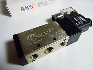 New Aks 5 Port 4 Way Air Pneumatic Solenoid Valve 3 8 4v310 110vac 2 Position