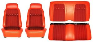 1969 Camaro Deluxe Houndstooth Interior Seat Cover Kit Oe Quality Orange