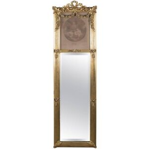 Antique French Louis Xiv Style La Bonne Mere Giltwood Trumeau Mirror Circa 1900