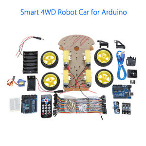 Motor Smart Robot Car Chassis Ultrasonic Kit Battery Box For Arduino Un0328 Diy