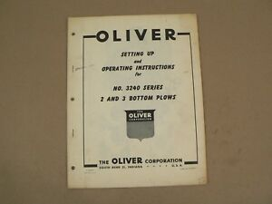 Oliver Setting Up 3240 Series 2 3 Bottom Plows Owners Operators Manual Vintage