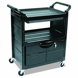 Plastic Service And Utility Cart With Cabinet And Sliding Drawer Black