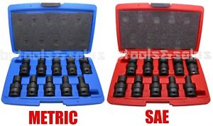 20pc 1 2 Dr Metric Sae Shallow Universal Impact Ball Swivel Socket Set