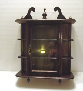 Vintage Wood Wall Display Curio Cabinet For Miniatures