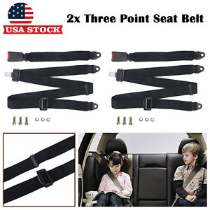 2 Set Car Universal Adjustable 3 Point Adjust Safety Seat Belt Lap Belt Kit Us