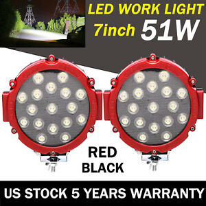 2x 7inch Led Car Led Work Lights Spot Fog Lamps Off Road Atv 5100lm Super Bright