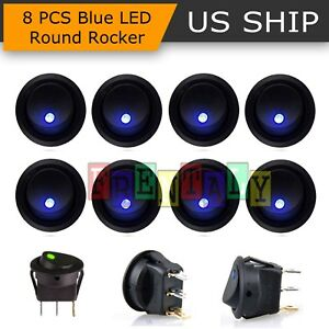 8pcs Blue Led Dot Light 12v Car Auto Boat Round Rocker On Off Toggle Spst Switch