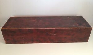 Antique Wood Chest Trunk In Old Dry Red Paint