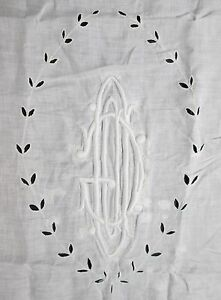 Silk Panel Needle Lace Insets Huge Center Monogram Eyelet Embroidery Lace Trim