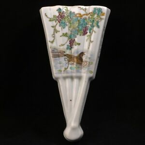 Chinese Porcelain Fan Shaped Wall Pocket With Wisteria And Duck Early 20th C