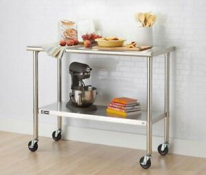 Stainless Steel Prep Table With Wheels Metal Cart Kitchen Rolling Work Tables