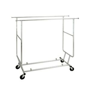 Collapsible Rolling Double bar Garment Rack