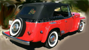 1948 52 Willys Jeepster Convertible Top And Side Windows Pinpoint Vinyl