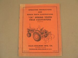 Allis Chalmers Ca Spring Tooth Field Cultivators Owners Manual Repair Parts List