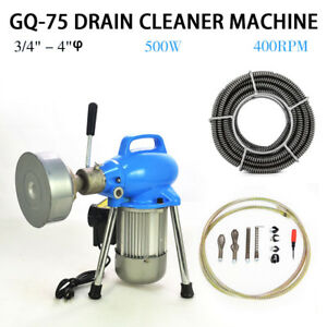 Hot 3 4 4 Dia Sectional Electric Pipe Drain Cleaner Machine 99ft Max Length