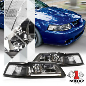 Black Housing Headlight Led Drl Clear Signal Reflector For 99 04 Ford Mustang