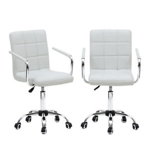 Adjustable Home Office Mid back Chair Executive Computer Desk Seat Swivel White