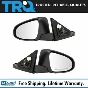 Mirror Power Heated Blind Spot Detection Smooth Black Pair For 15 Camry New