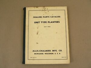 Allis Chalmers Unit Type Planters Service Repair Parts Catalog List 1963