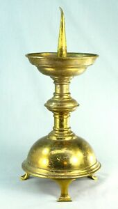 Antique 1800 S Gothic Revival Brass Pricket Candle Holder Candlestick 14 2
