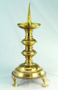 Antique 1800 S Gothic Revival Brass Pricket Candle Holder Candlestick 14 1