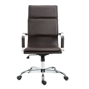 Pu Leather Office Rolling Chair Ergonomic High Back Computer Desk Cushion Brown