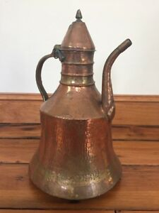 Vtg Antique Middle Eastern Arabic Turkish Hammered Copper Dallah Coffee Pot 15