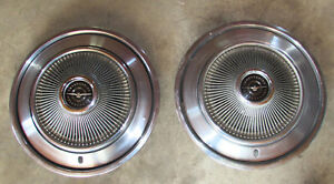 Pair 1973 Ford Thunderbird Hubcaps Wheel Covers 15