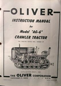 Oliver Cletrac Dozer Crawler Tractor A Ag 6 Ag 6h Operating Repair Manual 72pg