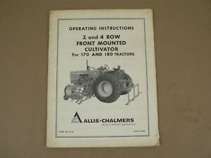 Allis Chalmers Front Mounted Cultivator For 170 180 Tractors Owners Manual Vtg