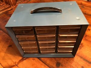 Vintage Akro mils Metal 15 drawer Hardware Cabinet Organizer Storage Usa
