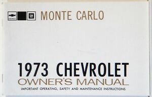 1973 Monte Carlo Factory Owners Manual Oe Quality Printed In The Usa