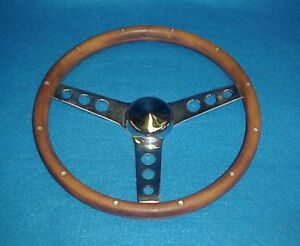 Vintage Flat Wood 3 Spoke Steering Wheel Chevelle Camaro Chevy Ford Dodge