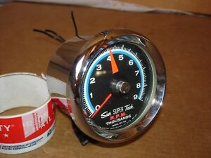 Vintage Sun Blue Face Sst 709 Super Tach Tachometer 9 000 Rpm With Cup And Mount